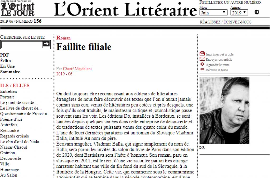 Francúzsky preklad Ballovej knihy V mene otca zaujal v Libanone